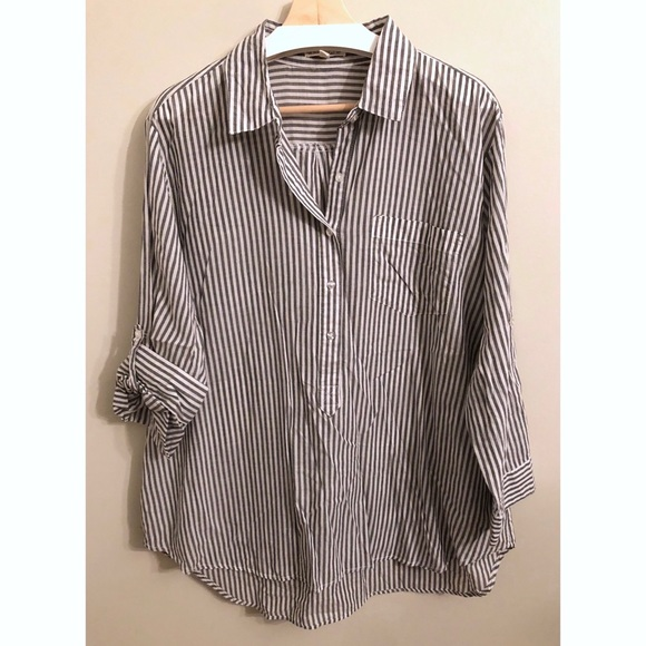953db378b46 Hester & Orchard • 1X • Striped Half Button-Up